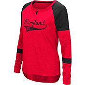 Colosseum Women's Maryland Terrapins Red Routine Raglan Long Sleeve T-Shirt