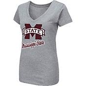Colosseum Women's Mississippi State Bulldogs Grey Dual Blend V-Neck T-Shirt