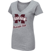 Colosseum Women's Mississippi State Bulldogs Grey Dual Blend V-Neck T-Shirt
