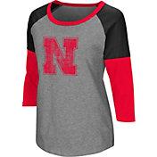 Colosseum Women's Nebraska Cornhuskers Grey Raglan T-Shirt