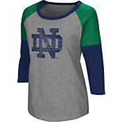 Colosseum Women's Notre Dame Fighting Irish Grey Raglan T-Shirt