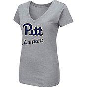 Colosseum Women's Pitt Panthers Grey Dual Blend V-Neck T-Shirt