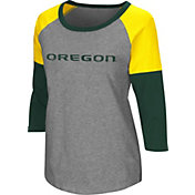 Colosseum Women's Oregon Ducks Grey Raglan T-Shirt