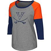 Colosseum Women's Virginia Cavaliers Grey Raglan T-Shirt