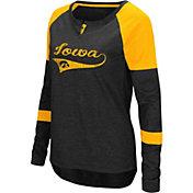 Colosseum Women's Iowa Hawkeyes Black Routine Raglan Long Sleeve T-Shirt
