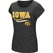 Colosseum Athletics Women's Iowa Hawkeyes Black Speckled Yarn T-Shirt