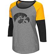 Colosseum Women's Iowa Hawkeyes Grey Raglan T-Shirt