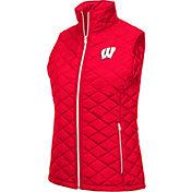 Colosseum Women's Wisconsin Badgers Red Elite Quilted Full-Zip Vest
