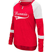Colosseum Women's Wisconsin Badgers Red Routine Raglan Long Sleeve T-Shirt