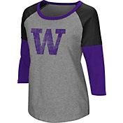 Colosseum Women's Washington Huskies Grey Raglan T-Shirt