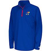 Colosseum Youth Kansas Jayhawks Blue Draft Performance Quarter-Zip
