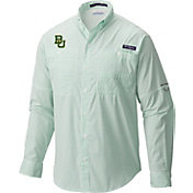 Columbia Men's Baylor Bears Green Super Tamiami Performance Long Sleeve Shirt