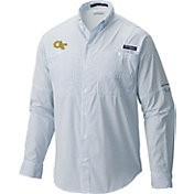 Columbia Men's Georgia Tech Yellow Jackets Navy Super Tamiami Performance Long Sleeve Shirt