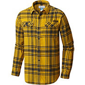 Columbia Men's West Virginia Mountaineers Gold Plaid Flare Gun Flannel Long Sleeve Shirt