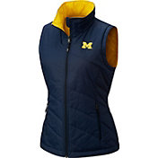 Columbia Women's Michigan Wolverines Blue Reversible Powder Puff Vest