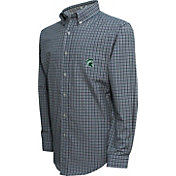 Campus Specialties Men's Michigan State Spartans Green Multi-Checkered Woven Long Sleeve Shirt