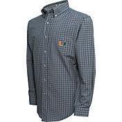 Campus Specialties Men's Miami Hurricanes Green Multi-Checkered Woven Long Sleeve Shirt