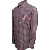 Campus Specialties Men's Indiana Hoosiers Crimson Multi-Checkered Woven Long Sleeve Shirt