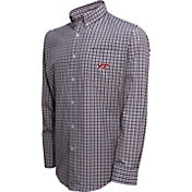 Campus Specialties Men's Virginia Tech Hokies Maroon Multi-Checkered Woven Long Sleeve Shirt