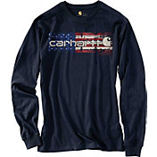 Carhartt Men's Lubbock Graphic Distressed Flag Long Sleeve Shirt