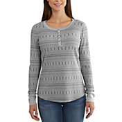 Carhartt Women's Meadow Printed Waffle Knit Henley Long Sleeve Shirt