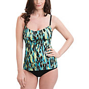 Dolfin Women's Aquashape Turquoise Tie Front Tankini Top