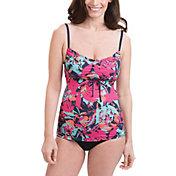 Dolfin Women's Aquashape Pink Eden Tie Front Tankini Top