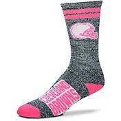 For Bare Feet Cleveland Browns Women's 2-Stripe Melange Crew Socks