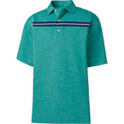 FootJoy Men's Stretch Pique Space Dye Chest Stripe Golf Polo