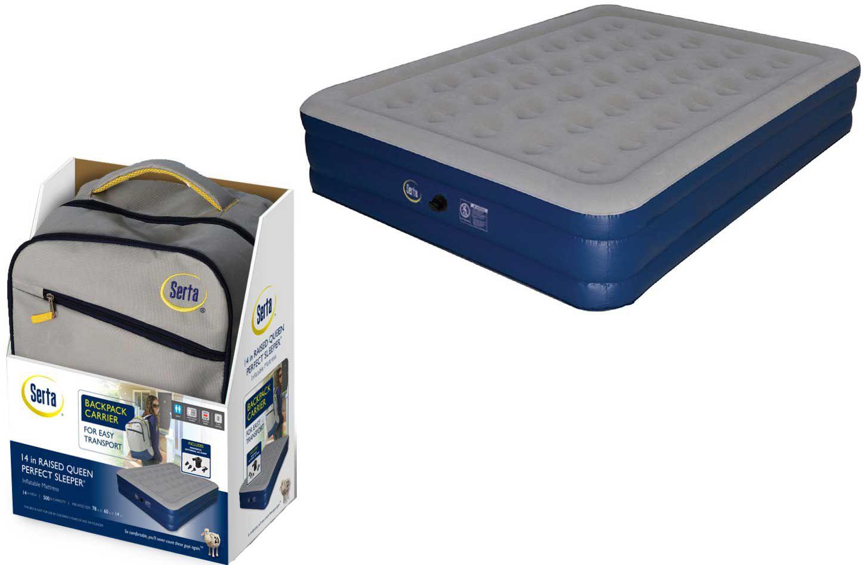 serta 18 neverflat raised queen air mattress with air pump