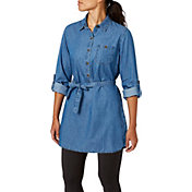 Field & Stream Women's Denim Tunic Button Down Long Sleeve Shirt