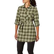 Field & Stream Women's Plaid Tunic Button Down Long Sleeve Shirt