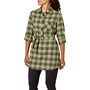 Field & Stream Women's Plaid Tunic Button Down Long Sleeve Shirt