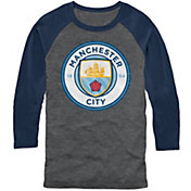 Fifth Sun Men's Manchester City Logo Grey/Navy Three Quarter Length T-Shirt