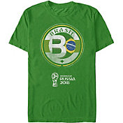 Fifth Sun Men's FIFA 2018 World Cup Russia Brazil Contrast Round Green T-Shirt