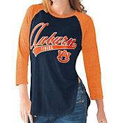G-III For Her Auburn Tigers Blue/Orange Halftime Three-Quarter Raglan T-Shirt