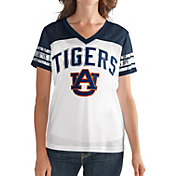 G-III For Her Women's Auburn Tigers White/Blue Free Agent V-Neck T-Shirt
