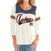 G-III For Her Women's Auburn Tigers White Endzone Three-Quarter Sleeve T-Shirt