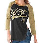 G-III For Her UCF Knights Black/Gold Halftime Three-Quarter Raglan T-Shirt