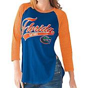 G-III For Her Florida Gators Blue/Orange Halftime Three-Quarter Raglan T-Shirt