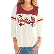 G-III For Her Women's Florida State Seminoles White Endzone Three-Quarter Sleeve T-Shirt