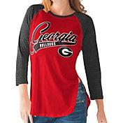G-III For Her Georgia Bulldogs Red/Black Halftime Three-Quarter Raglan T-Shirt