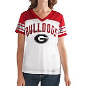 G-III For Her Women's Georgia Bulldogs White/Red Free Agent V-Neck T-Shirt