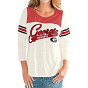 G-III For Her Women's Georgia Bulldogs White Endzone Three-Quarter Sleeve T-Shirt