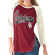 G-III For Her Oklahoma Sooners Crimson/White Halftime Three-Quarter Raglan T-Shirt
