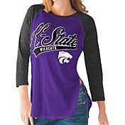 G-III For Her Kansas State Wildcats Purple/Black Halftime Three-Quarter Raglan T-Shirt