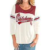 G-III For Her Women's Oklahoma Sooners White Endzone Three-Quarter Sleeve T-Shirt