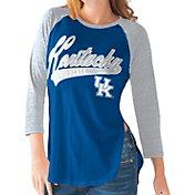 G-III For Her Kentucky Wildcats Blue/Grey Halftime Three-Quarter Raglan T-Shirt