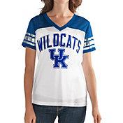 G-III For Her Women's Kentucky Wildcats White/Blue Free Agent V-Neck T-Shirt