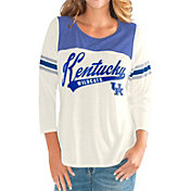 G-III For Her Women's Kentucky Wildcats White Endzone Three-Quarter Sleeve T-Shirt